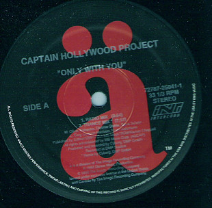 "Captain Hollywood Project - Only With You (1993) (EP, 12"", 33 RPM) G/NM-"